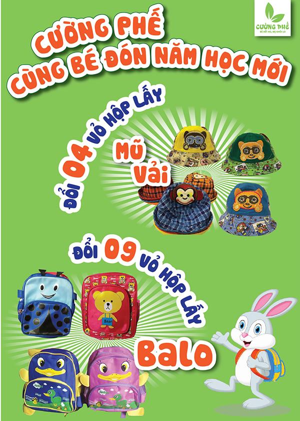 Đổi 9 vỏ hộp Cường Phế lấy mũ vải hoặc balo