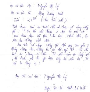 Bức thư đánh giá hiệu quả sử dụng Cường Phế của chị Lý tại Bắc Ninh